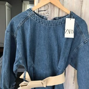 Zara Belted Denim Dress